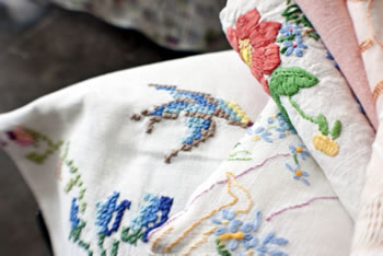 Vintage Textiles - Embroidered Linen