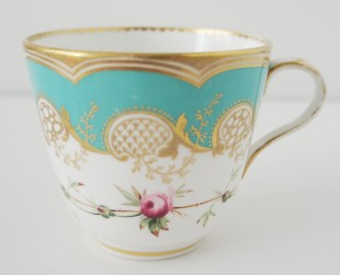 stunning turquoise and gilt with tiny rose detail truly special
