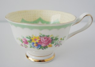 delicate rose patterned vintage crockery tea cup