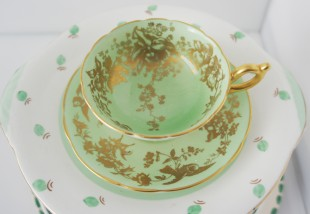 apple green and gold fine bone china tea cup