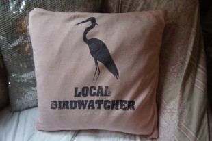 Local birdwatcher upcycled cushion