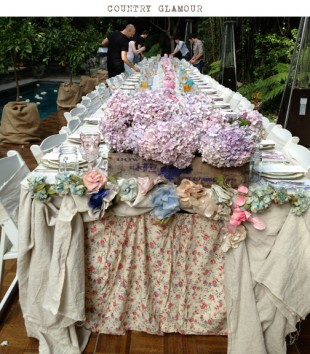 layered vintage linens and florals