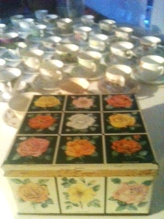 vintage tea cups and gorgeous tin