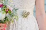 vintage brooch on bridesmaid dresses