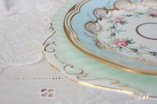 over 300 delicately patterned vintage dinner plates by Elsie Florence