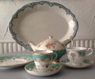 vintage china in aqua