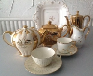 Elsie Florence vintage china in sophisticated goldsand creams