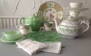 Elsie's vintage china in 40's inspired greens