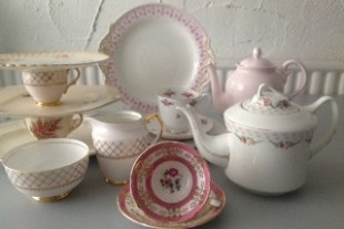 Elsie Florence vintage china in soft pinks