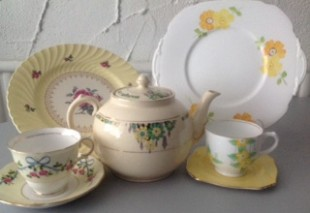 Elsie's vintage china in soft yellows